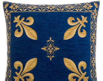 jacquard woven belgian gobelin tapestry cushion pillow cover french Fleur de Lys burgundy blue - PC-1287/33