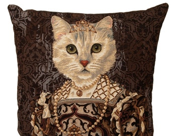 Belgian tapestry throw pillow cushion cover royal portrait white cat with black dress, crown and pearls - PC-3040