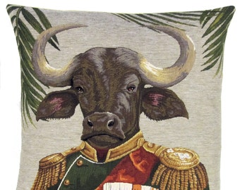 Buffalo belgian  tapestry gobelin throw pillow cushion cover buffalo military costume aristocrat  - PC-5636