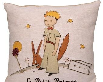 jacquard woven belgian gobelin tapestry cushion pillow cover Le Petit Prince Planète by de St.Exupéry