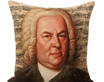 Johannes Sebastian Bach Pillow Cover - Bach Gift - 18x18 Belgian Tapesty Cushion Cover - Musical Gift - PC-1831