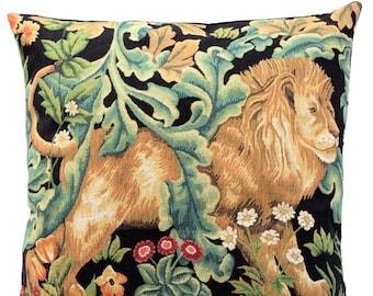Lion Pillow Cover - William Morris Blackforest Cushion Cover - Morris Home Decor - Gobelin Pillow Case - Belgian Tapestry Pillow