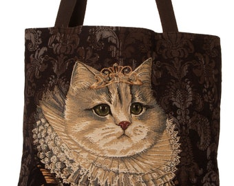 cat portrait tapesytry tote bag - cat design tote bag - cat portrait bag - royal cat portrait bag