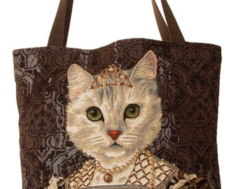 tapestry tote bag - cat design tote bag - cat portrait bag - royal cat portrait bag