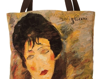 Modigliani Tote Bag - Modigliani Shoulder Bag - Fine Arts Handbag - Tapestry Hobo Bag - Woven Handbag - Art Gift - Woman with Black Hat