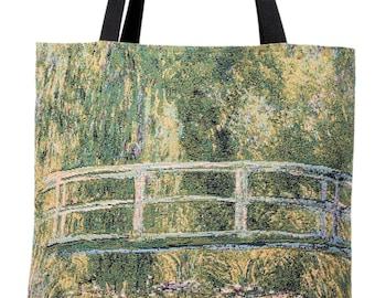 The Bridge of Giverny Handbag - Monet Shoulder Bag - Fine Arts Tote Bag - Tapestry Hobo Bag - Woven Handbag - Monet Gift