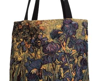 Van Gogh Handbag - Tapestry Tote Bag - iRISES Shoulder Bag - Gobelin Hobo Bag - Museum Gift - Vincent Van Gogh Lover Gift