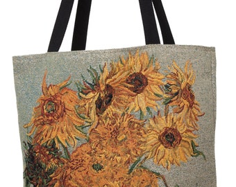 Van Gogh Handbag - Tapestry Tote Bag - Sunflower Shoulder Bag - Gobelin Hobo Bag - Museum Gift - Vincent Van Gogh Lover Gift