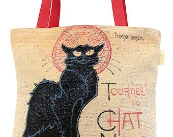 Le Chat Noir Handbag - Black Cat Tote Bag - Tapestry Bag - Fine Arts Shoulder Bag - Gobelin Hobo Bag - Museum Gift