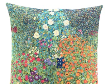 Klimt Bauerngarten Pillow Cover - Fine Arts Decor -  Gustav Klimt Gift - Floral Pillow Cover -Klimt Floral Painting - Woven Cushion Cover