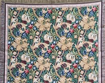 Golden Lily Throw Blanket - William Morris tapestry Throw - 56x56 Belgian Tapestry Throw - William Morris Design Throw Blanket