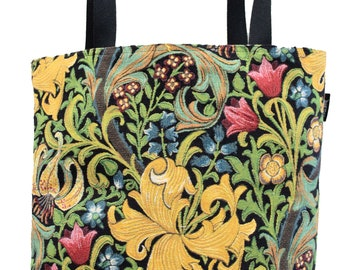 William Morris Handbag - Golden Lily Shoulder Bag - Fine Arts Tote Bag - Tapestry Hobo Bag - Woven Handbag - William Morris Gift