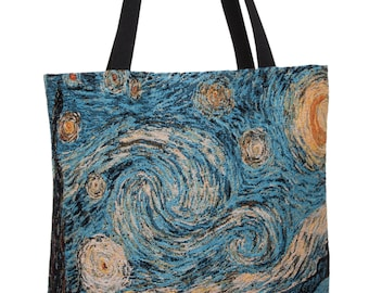 Van Gogh Starry Night Handbag - Tapestry Tote Bag - Fine Arts Shoulder Bag - Gobelin Hobo Bag - Museum Gift - Vincent Van Gogh Lover Gift