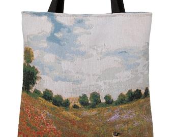 Poppies Field Handbag - Monet Shoulder Bag - Fine Arts Tote Bag - Tapestry Hobo Bag - Woven Handbag - Monet Gift - Poppies Gift