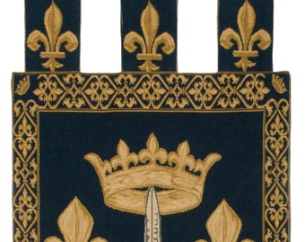 Joan of Arc coat of arms - Fleur de Lis Decor - Fleur de Lis Tapestry Wall Hanging - Heraldic Decor - Blue Wall Hanging Tapestry