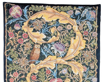 tapestry wall hanging Owl and Pigeon - William Morris wall hanging tapestry - Arts and Crafts Tapestry Decor- William Morris Wall Decor