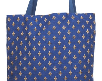 Fleur de Lis Tote Bag - Fleur de Lis Shoulder Bag - Fine Arts Handbag - French Style Hobo Bag - Woven Handbag - Art Gift