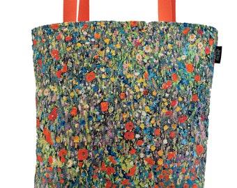 Klimt Tote Bag - Gustav Klimt Bauerngarten Shoulder Bag - Fine Arts Handbag - Tapestry Hobo Bag - Woven Handbag - Art Gift