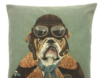 English bulldog pillow cover - aviation pillow cover - aviation gift - aviation decor - bulldog decor - bulldog lover gift