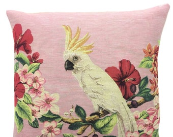 Cockatoo Pillow Cover - Cockatoo Cushion Cover - Cockatoo Gift - Cockatoo Decor - 18x18 Belgian Tapestry Throw Pillow - Tropical Decor