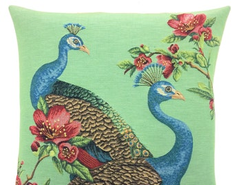 Peacock Decor - Peacock Pillow Cover - Peacock Lover Gift - Green Pillow - 18x18 Belgian Tapestry Cushion - Peacock Throw Pillow