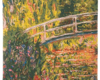 Monet Tapestry Wall Hanging - Fine Arts Wall Decor - Japanese Bridge Tapestry Hanging -  Fine Arts Wallhanging - Impressionist Decor
