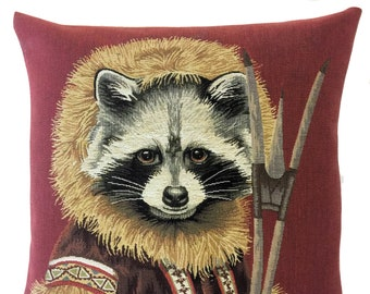 Raccoon Pillow Cover - Raccoon Lover Gift - Raccoon Decor - Inuit Pillow Cover - Jacquard woven cushion cover - tapestry throw pillow