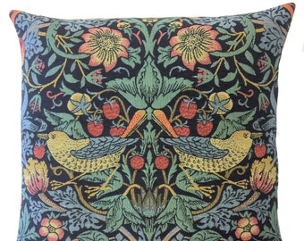 William Morris Strawberry Thief Pillow Cover  - William Morris Gift - 18x18 Belgian Tapestry Cushion - Gobelin Pillow - Morris decor