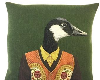 Goose Pillow Cover - Goose Cushion Cover - Tiroler Decor - Dressed Goose Throw Pillow - Mountain Decor - Goose Lover Gift - gobelin pillow