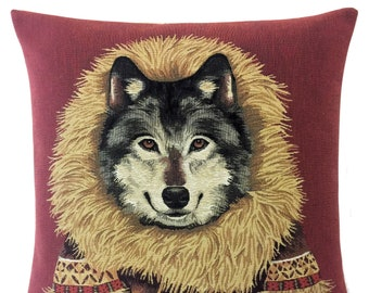 Wolf Pillow Cover - Wolf Lover Gift - Wolf Decor - Eskimo Pillow Cover - Jacquard woven cushion cover - tapestry throw pillow
