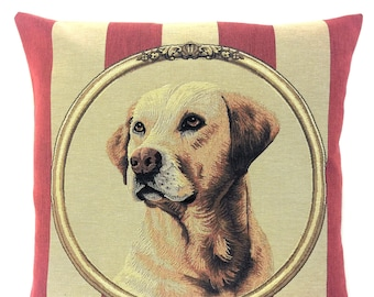 Yellow Labrador Pillow Cover - Labrador Lover Gift - Labrador Cushion Cover - Dog Decor Accent - Dog Portrait - Tapestry Pillow Cover