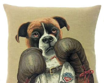 Boxer Dog Pillow Cover - Boxing Pillow Cover - Boxing Decor - Boxing Gift - Boxing Art - Belgian Tapestry Pillow Cover