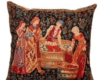 The Wine Press Pillow Cover - Medieval Tapestry Pillow Cover - The Vintage Tapestry Cushion Cover - Pressing of Grapes Cushion Cover