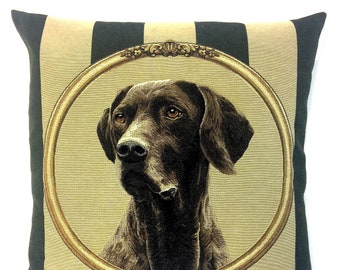 Pointer Dog Pillow Cover - Pointer Lover Gift - Hunting Dog Gift - Hunting Gift - Hunting Decor - Striped Throw Pillow - Belgian Tapestry