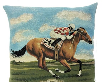 Racing Horse Pillow Cover - Horse Decor - Vintage Horse Gift - Gift For Horse Lover - Horse Art