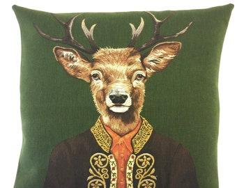 Stag Pillow Cover - Tiroler Decor - Dressed Stag Throw Pillow - Mountain Decor - Stag Lover Gift - gobelin throw pillow