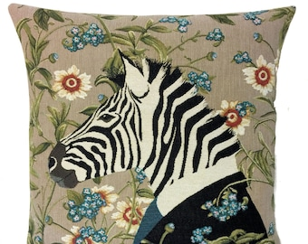 Tropical Decorative Pillow - Zebra Lover Gift - Zebra Decor - Floral Decor Accent - Jacquard Woven Throw Pillow - Zebra Art