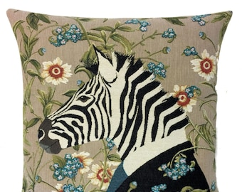Tropical Decorative Pillow - Zebra Lover Gift - Zebra Decor - Floral Decor Accent - Jacquard Woven Throw Pillow - Zebra Art