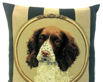 springer spaniel thow pillow cover - hunting decor gift - striped green beige decorative pillow