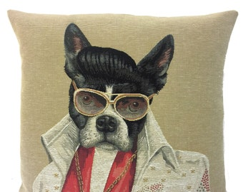 Boston Terrier Pillow Cover - French Bulldog Decor Gift -  Elvis Lover Gift - Elvis pillow case - 18x18 belgian tapestry cushion - PC-5716