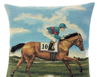 Jockey Pillow Cover - Jockey and Racing Horse - Racing Horse Decor - Horse Art - Gift for Horse Lover