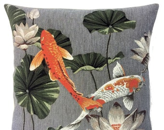 Koi Fish Pillow Cover - Koi Fish Lover Gift - Koi Fish Decor - Haute Decor Accent Pillow - Belgian Tapestry Pillow Case