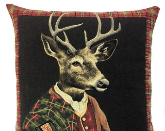 Scottish Home Decor - Scottish Clan Tartan Gift - Stag Lover Gift - Scottish Art - Jacquard Woven Pillow Cover