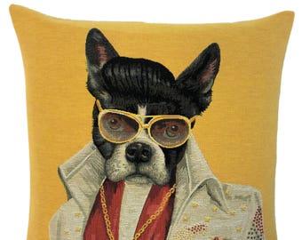 Boston Terrier Pillow Cover - French Bulldog Decor Gift -  Elvis Lover Gift - Elvis pillow case - 18x18 belgian tapestry cushion - PC-5716