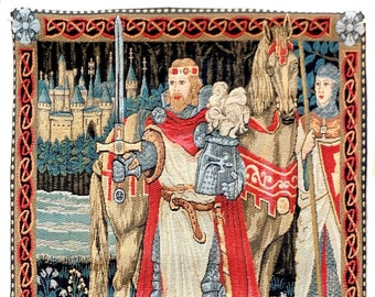 King Arthur Art - Medieval Tapestry - Medieval Wall Hanging Tapestry - King Arthur and Lady Guinevere - Medieval Art