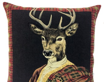 Stag Portrait Pillow Cover - Scottish Clan Decor - Scottish Tartan Decor - Aristocratic Gift -Jacquard Woven Cushion Cover