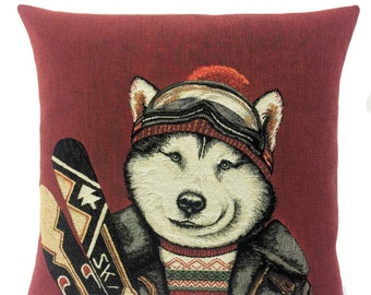 Wolf Pillow Cover - Wolf Lover Gift - Ski Decor - Vintage Ski Gift - Mountain Decor - Tapestry Pillow Cover