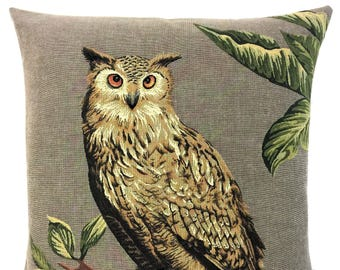 Owl Lover Gift - Eagle Owl Pillow Cover - Owl Decor - Eagle Owl Throw Pillow - 18x18 belgian tapestry cushion - Eagle Owl Gobelin Cushion
