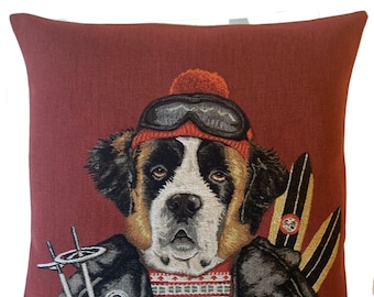 Saint Bernard Cushion Cover - Ski Dog Pillow Cover - Dog Lover Gift - Ski Decor - Vintage Ski Gift - Mountain Decor - Tapestry Pillow Cover