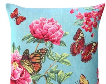 pink flower pillow cover - floral butterfly cushion cover - floral gift - floral decor - blue pillow case - 18x18 tapestry throw pillow